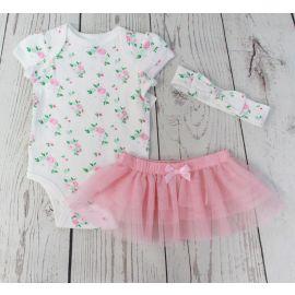 Rose 3 pc skirt set tutu pink