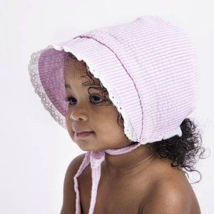 faire bonnet pink seersucker
