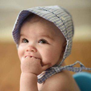 faire bonnet plaid blue boy